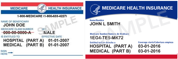 Current Old-format Medicare Card vs New Revamped Medicare Card